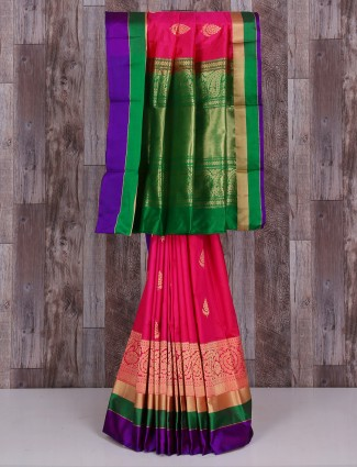 Magenta green designer silk saree
