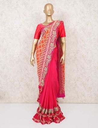 Magenta half and half designer wedding saree
