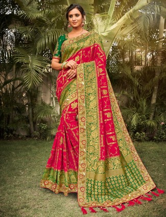 Magenta heavy saree for wedding function in silk