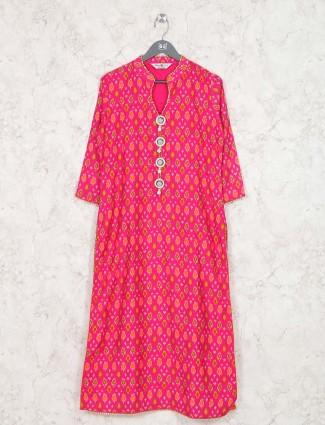 Magenta hue cotton festive kurti
