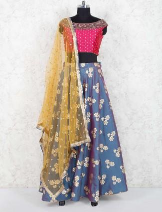 Magenta hue cotton silk festive lehenga choli