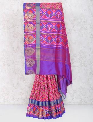 Magenta hue cotton silk festive saree