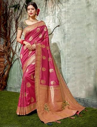 Magenta hue saree in semi silk