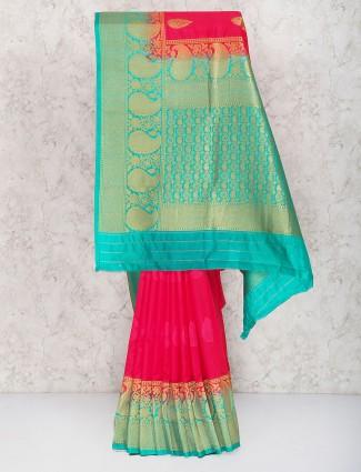 Magenta hue semi silk wedding sari