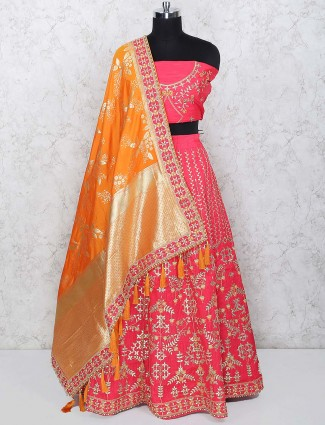 Magenta hue wedding semi stitched lehenga choli