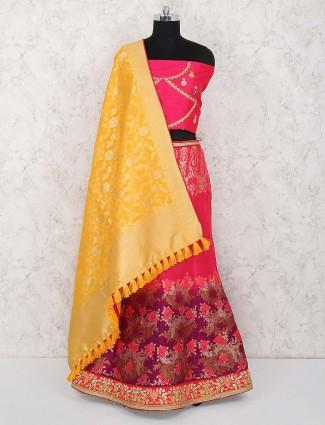 Magenta hued banarasi silk semi stitched lehenga choli