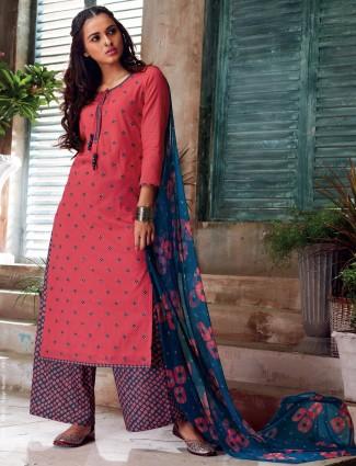 Magenta impressive cotton salwar suit