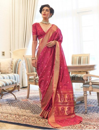 Magenta kanjeevaram silk saree for wedding