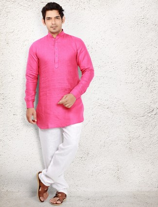 Magenta linen solid pathani suit