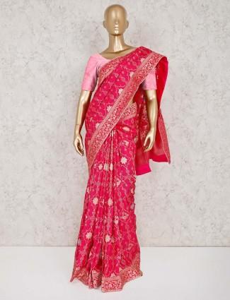 Magenta muga silk saree for reception