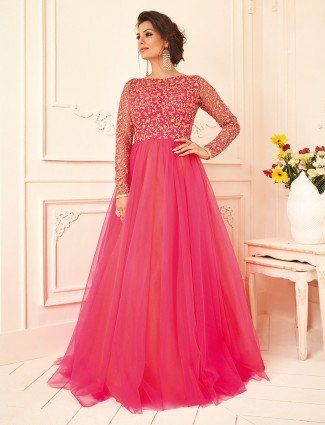 Magenta net wedding anarkali suit