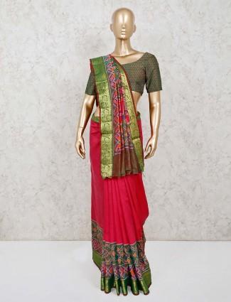 Magenta patola silk zari woven printed saree