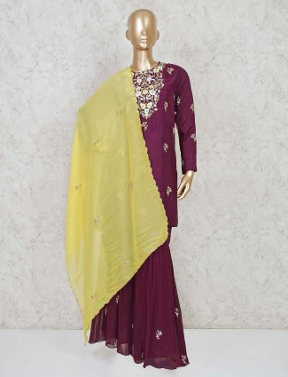Magenta pink silk sharara salwar kameez for festivals