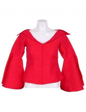 Magenta plain raw silk ready made blouse
