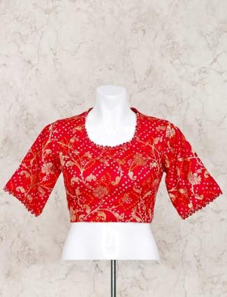 Magenta printed bandhej ready made blouse