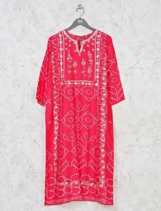 Magenta printed cotton silk kurti