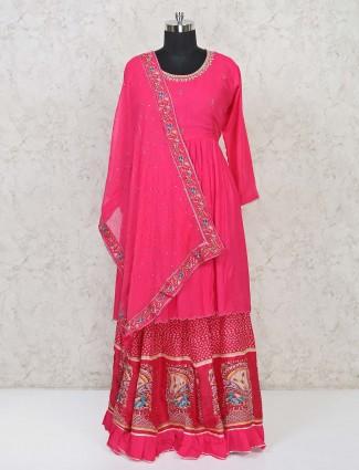 Magenta punjabi lehenga suit in cotton