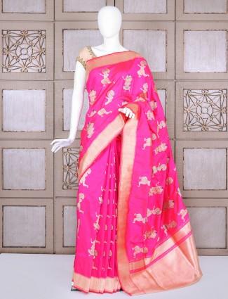 Magenta pure banarasi silk bridal saree