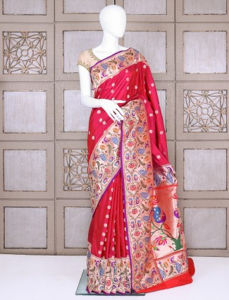 Magenta pure banarasi silk paithani saree for bridal