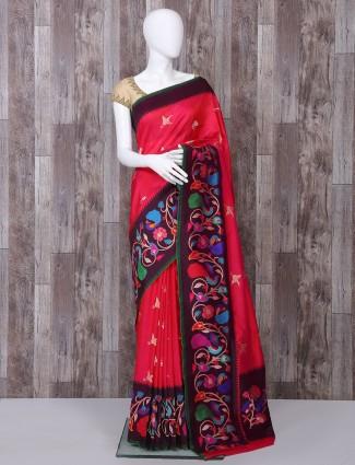 Magenta pure banarasi silk partywear saree