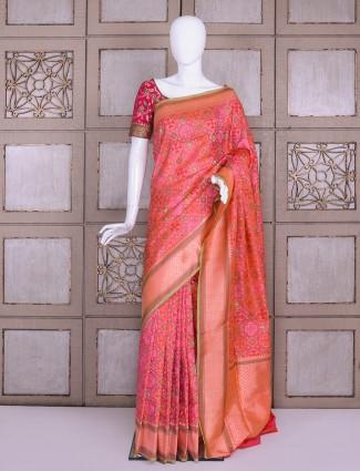 Magenta pure banarasi silk patola saree