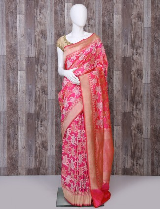 Magenta pure banarasi silk woven saree