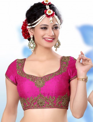 Magenta raw silk attractive ready made blouse