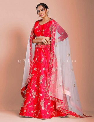 Magenta raw silk bridal semi stitched lehenga choli