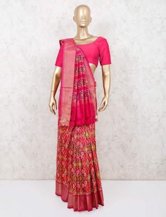 Magenta saree for wedding in patola silk