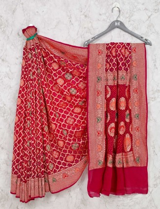 Magenta saree for wedding session in bandhej style