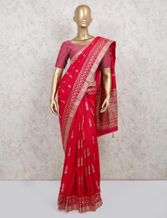 Magenta saree in dola silk for wedding days