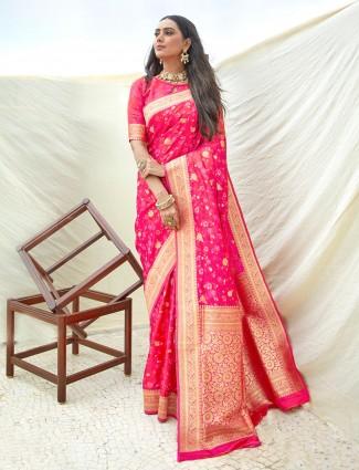 Magenta semi banarasi silk wedding wear saree