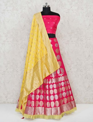 Magenta semi stitched lehenga choli in banarasi silk
