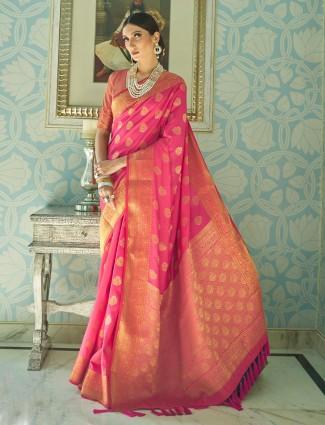 Magenta semil silk saree for reception