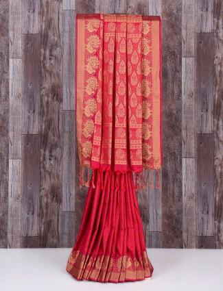 Magenta silk beautiful wedding saree
