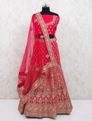 Magenta silk bridal wear semi stitched lehenga choli