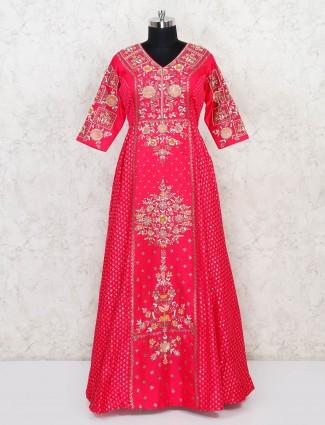 Magenta silk designer floor length anarkali suit