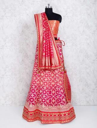 Magenta silk fabric semi stitched lehenga choli