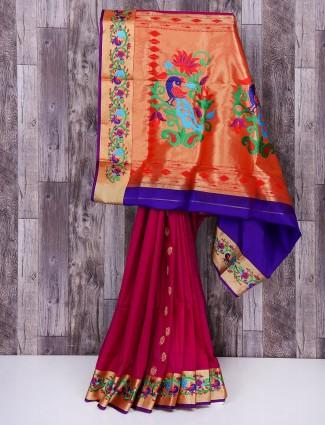 Magenta silk festive wear designer saree