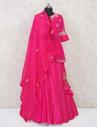 Magenta silk jacket style wedding lehenga choli