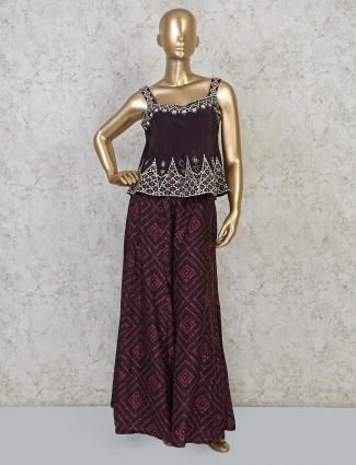 Magenta silk palazoo suit in peplum style