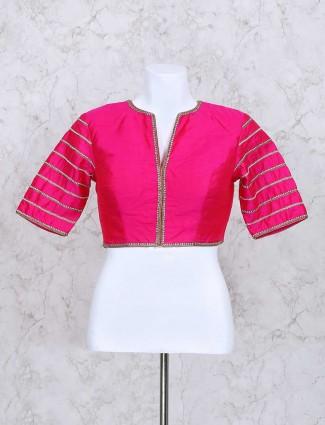 Magenta silk ready made blouse