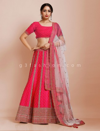 Magenta silk semi stitched bridal lehenga choli