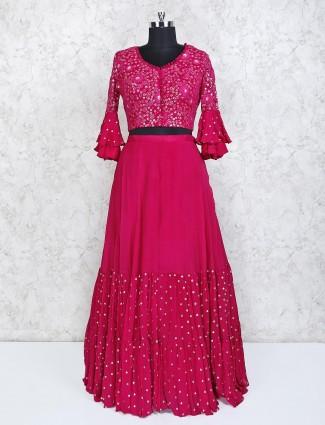 Magenta wedding wear georgette lehenga choli
