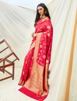 Magenta wedding wear semi banarasi silk