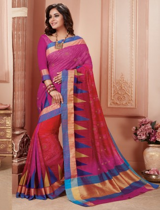 Magenta wedding wear semi silk saree