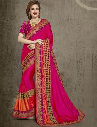 Magenta wonderful wedding silk saree