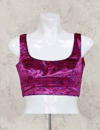 Magenta zari weaving ready made blouse