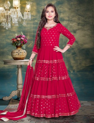 Magents georgette festive wear anarkali suit