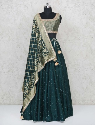 Magestic green lehenga choli in silk